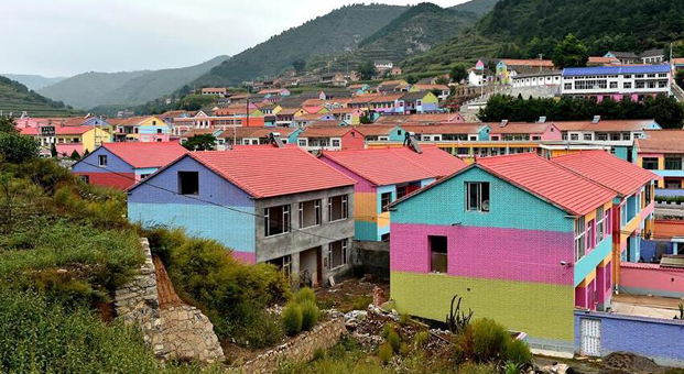 Colorful houses seen in N China
