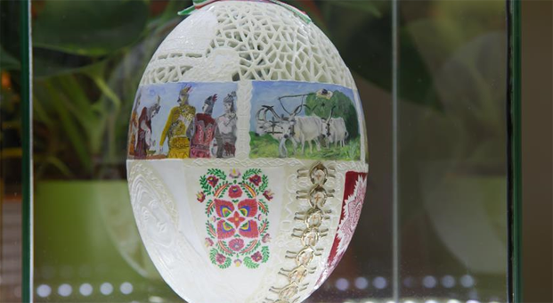 Easter egg telling history of Hungarians presented in Budapest, Hungary