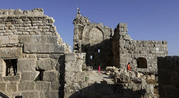 Tourists visit historical Ajloun Castle in Jordan