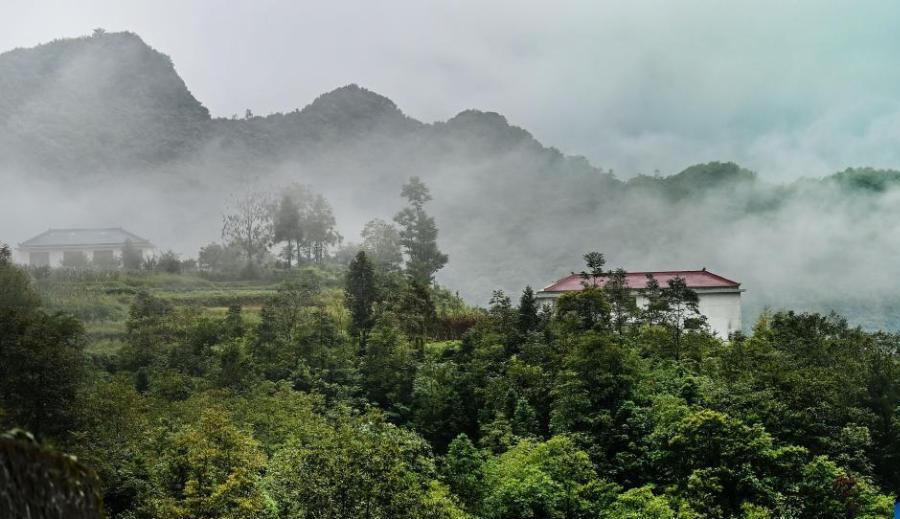Scenery of Longtoushan scenic area shrouded in clouds in NW China