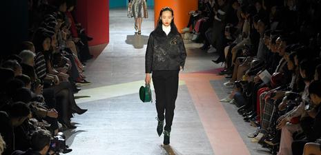 Models present creations of Shiatzy Chen at Paris Fashion Week